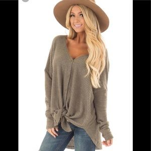 Waffle Front Tie Long Sleeve Top